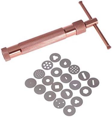 BESTONZON 粘土銃押出機セラミックス陶器粘土押出機DIYジオメトリヌードル子供のための教育玩具(ローズゴールド)