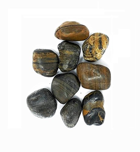 Striped Rock - Polished River Rock, Select Color and Size (30-50mm, 2.2 Pounds Striped)