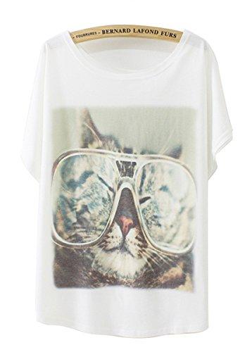 Luna et Margarita Damen Weiss Fledermaus-shirt mit Baumwolle und Stoffdruck in der gleichen Gr??en 59cm. cool Katze mit gr??e Brille