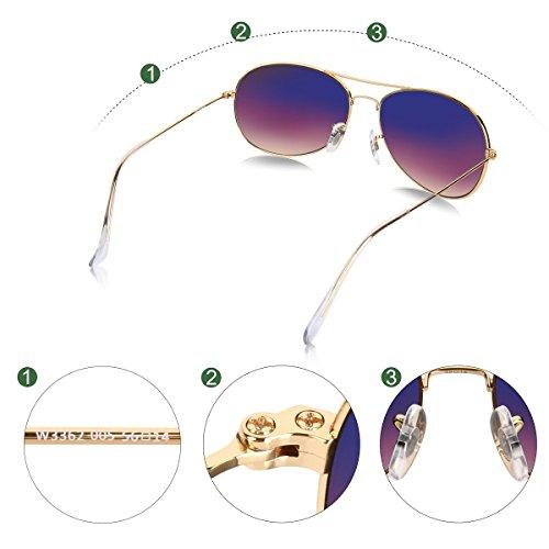 Lens Gradient Frame sol Gold redondo Wenlenie estilo de aviador de pequeñas sombras mujeres para Brown unisex Gafas aUF1qcOR