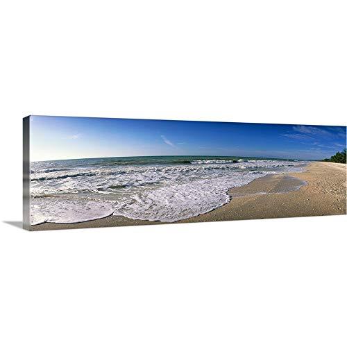 GREATBIGCANVAS Gallery-Wrapped Canvas Entitled Ocean Waves on Beach Sanibel Island FL by 60