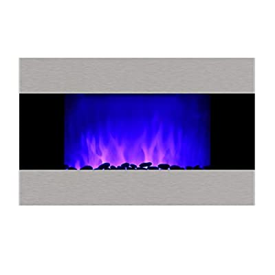 1500W Adjustable Wall Mount Electric Fireplace Heater LED 7 Color Flames with Remote Control