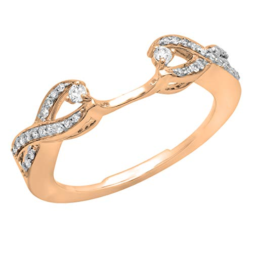 (Dazzlingrock Collection 0.25 Carat (ctw) 10K White Diamond Swirl Anniversary Wedding Band Ring 1/4 CT, Rose Gold, Size 8)