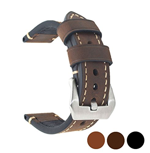 Dark Brown 20mm Genuine Leather Wristwatch Watch Band Oil Tan Vintage Strap for Men with Stainless Buckle (Genuine Leather Watch Strap)