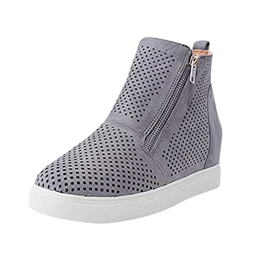 (LYNStar✔ Women's Platform Sneakers Hidden Wedges Side Zipper Perforated Ankle Booties Casual High Top Sports Shoes Gray)