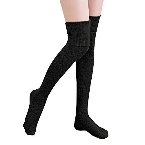 Thigh High Socks,Over Knee Socks for Women Girl,Crochet Long Socks Leg Warmer Leggings(Black)