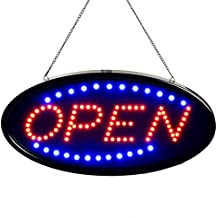 "Neon LED Business Open Sign, Heezi Advertisement Board Electric Display Sign, 18.9""x9.84"" Light Up Sign Open with 2 Flashing Modes, Lighted Signs for Walls, Glass Window, Shops, Bars, Hotels"