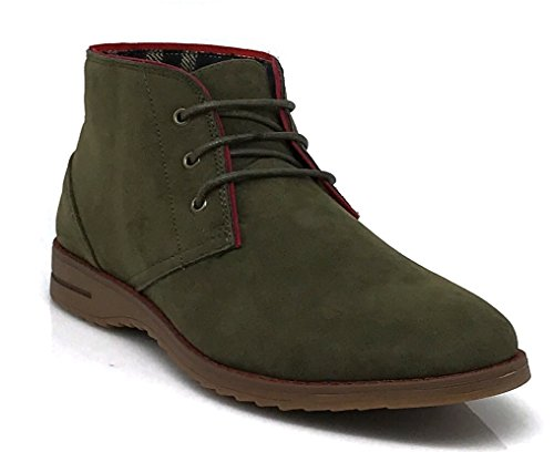 DrV1 Men's Suede Leather Plain Chukka Boots Ankle Desert Boots Oxfords Shoes (11, Olive) (Man Boots For Sale)