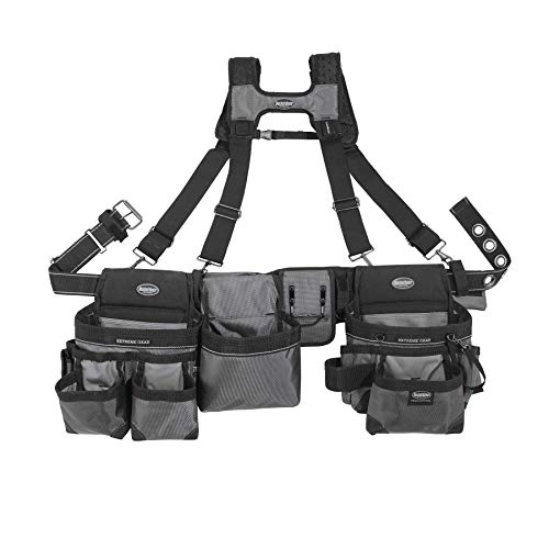 Bucket Boss Mullet Buster 3 Bag Tool Belt with Suspenders in Grey, 55135 (Best Tool Belt For Roofing)