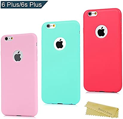 3x Funda iPhone 6 Plus/iPhone 6s Plus 5.5 Pulgada, Carcasa Silicona Gel iPhone 6s Plus Mate Case Ultra Delgado TPU Goma Flexible Cover Protectora para ...