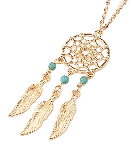 stylesilove Womens Dream Catcher Turquoise Beads Pendant Necklace (Gold Feathers with 3 Green (Green Beads Gold Necklace)