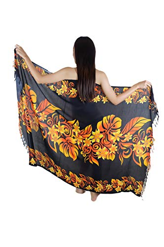Iyara Hawaiian Hibiscus Beachwear Cover up Bathing Wrap Swimwear Swimsuit Women Pareo Sarong and Coconut Shell Brooch (Black-Orange)