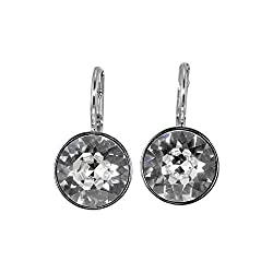 Rhodium Plated Charming White Pierced Mini Earrings