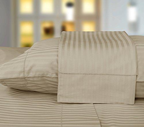 - Threadmill Home Linen 600 Thread Count 100% Cotton Pillow Cases 1cm Damask Stripe Set of 2 Cotton Pillowcases Standard Size, Hem Stitch Luxury Smooth Sateen, Beige