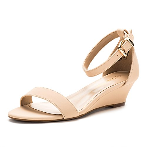DREAM PAIRS Women's Ingrid Nude Nubuck Ankle Strap Low Wedge Sandals - 6 M US