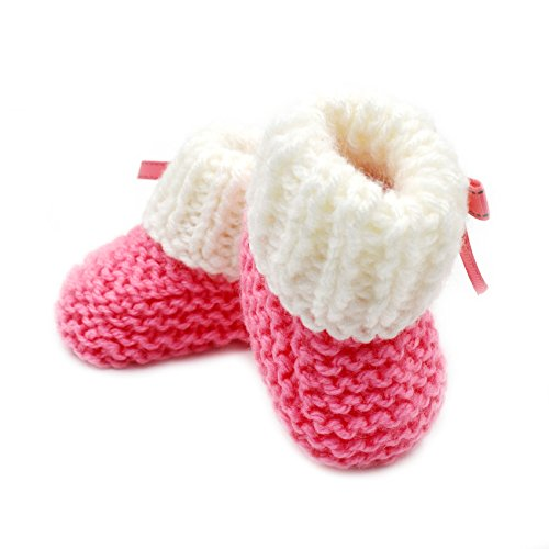 Pictures of Magic Needles Hand Knit Crochet Turkish Yarn Baby Booties - 4070 (3-6 Mths Toe to Heel 11 cms) Pink/White 2