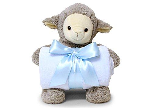 Smiling Softly Lovely Lamb Hugging Blue Cozy Fleece Nursery Blanket 38 x 28 inch