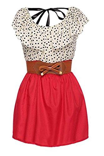 Zeagoo Women's Fashion High Waist Casual Dots Short Dress with Belt (Medium, Red(FBA))
