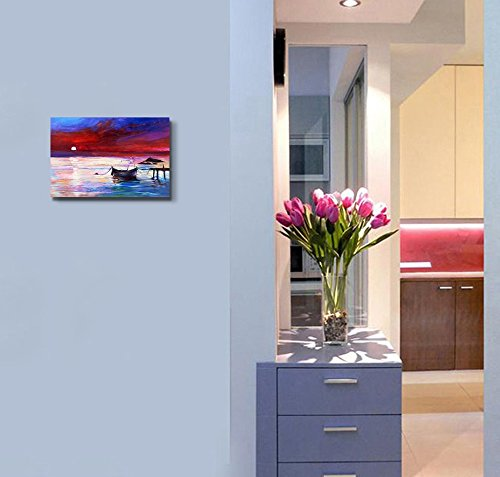 Oil Painting of Boats and Sea Purple Sunset and White Moon Over Ocean Home Deoration Wall Decor