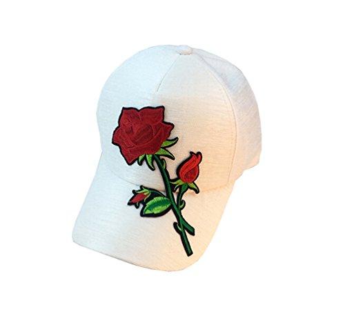 (Tuesdays2 Unisex Rose Embroidered Adjustable Strapback Dad Hat Baseball Cap (White))
