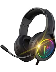 RGB Gaming Headset with Mic for PS4 PS5 Xbox one PC, Stereo Gamer Headphones with Noise Cancelling Microphone, Stereo Headset Soft Memory Earmuffs for Laptop Mac Nintendo Switch Games