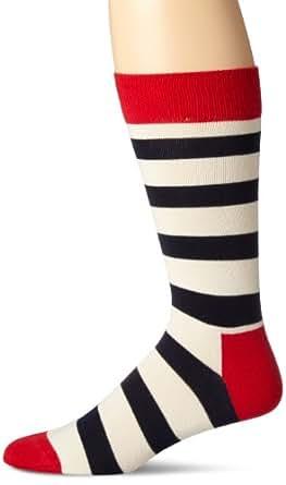 Happy Socks Men's Stripe Socks, Navy/Red/White, Sock Size: 10-13/Shoe Size:9-11