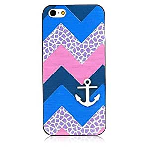 MOM Line and Anchor Pattern Black Frame Back Case for iPhone 4/4S