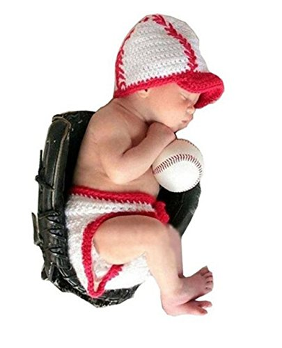 Shinestar Baby Photography Prop Crochet Baseball Sports Hat Cap Shorts Costume
