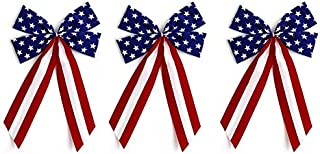product image for Independence Bunting - 3-Pack! 4 Loop Red, White & Blue Patriotic Bows. American Made 4th of July Holiday Ribbon Bow is Good for Inside and Outdoors.