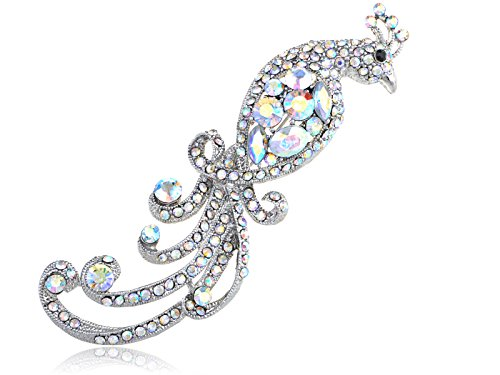 (Alilang Women's Silvery Tone Shine Rainbow Rhinestones Peacock Bird Brooch Pin)