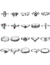 THUNARAZ 20 Pcs Vintage Knuckle Rings for Women Girls Stackable Midi Finger Ring Set