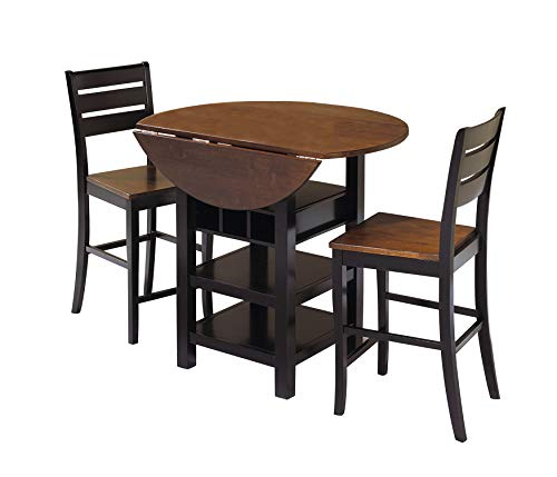 Sunset Trading CR-A7572-3PC Quincy Dining Pub Table Set, Black/Cherry Finish ()
