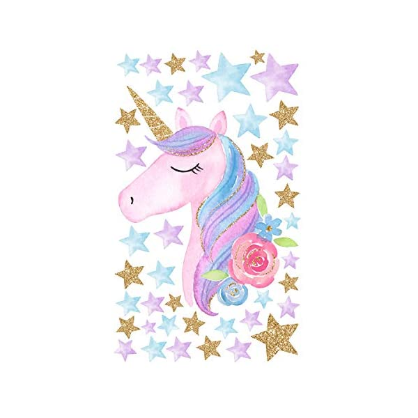 AIYANG Unicorn Wall Stickers Rainbow Colors Wall Decals Reflective Wall Stickers for Girls Bedroom Playroom Decoration 6