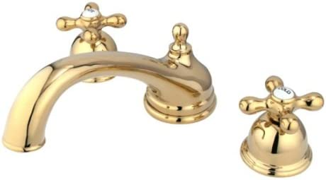 Kingston Brass KS3352AX Vintage Roman Tub Filler with Metal Cross Handle, Polished Brass