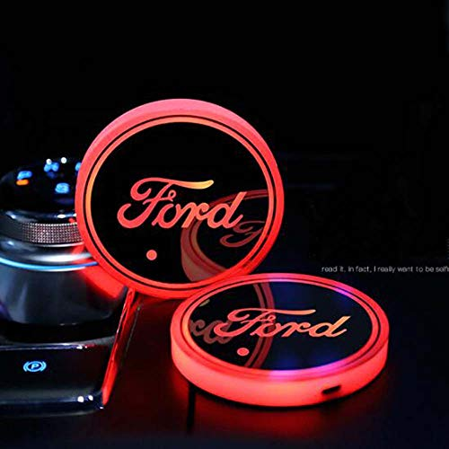 (Zhengyong Auto 2PCS LED Car Logo Cup Holder Lights for Ford ,Waterproof Bottle Drinks Coaster Built-in Light 7 Colors Changing USB Charging Car Interior Accessories (Ford))