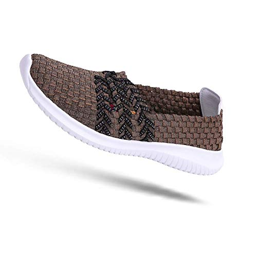 DAYOUT Women's Woven Wedge Slip On Comfort Lightweight Walking Shoes Handmade Elasticized Woven Shoes (US8.5, Brown)
