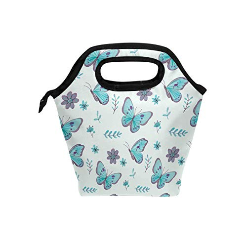 Lunch Bag Blue Butterflies Willow Flowers Pattern Insulated Lunchbox Thermal Portable Handbag Food Container Cooler Reusable Outdoors Travel Work School Lunch Tote (Co Willow Pattern)