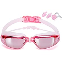 Claro nadar anteojos con Anti-Fog Protección UV 100% sin fugas. Triathlon–Gafas de natación con tapones para los oídos Protección Caso y nariz clips gratuita para hombres adultos mujeres, luz azul por hjqloveclp