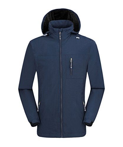 Hiheart Mens Water Resistant Windbreaker Hooded Outdoor Jacket Navy ()