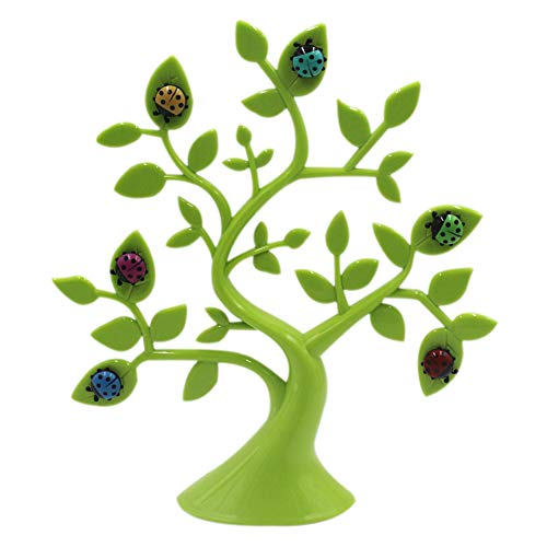 Lucky Tree Shape Desktop Photo Holder with Cute Ladybug Magnet Creative Family Picture Frames Memo Pad Clip ()
