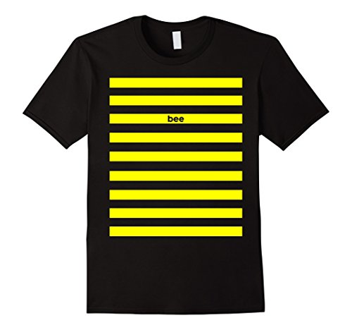 Male Bee Costume - Mens Bee Costume Front And Back Printed Tshirt -Halloween Costume Large Black