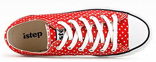 Idifu Comode Polka Dot Di Pizzo Su Tela Sneakers Basse Scarpe Casual Basse Piatte Per Camminare