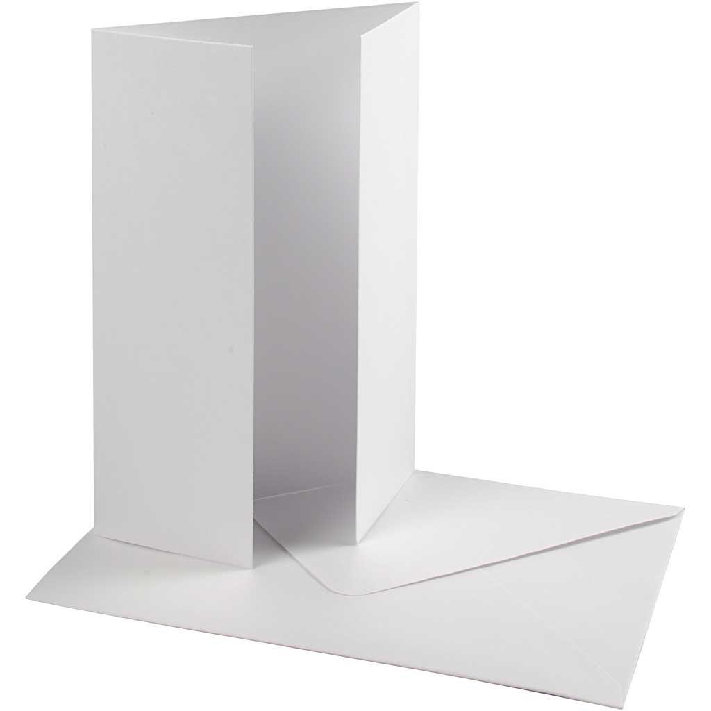 Cartoncino e busta perlati, dim. cartoncino 10,5x15 cm, dim. busta 11,5x16,5 cm, bianco, 10set, 120 g Happy Moments