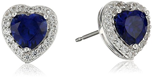 Sterling Silver Created Blue Sapphire and Created White Sapphire Halo Heart Stud Earrings Blue Sapphire Set Earrings