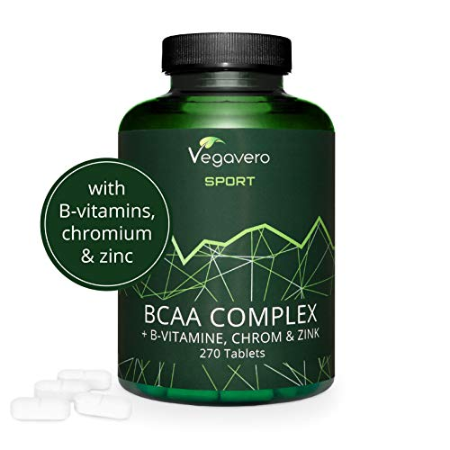 VEGAVERO Vegan BCAA - Highest Dose 5000 mg Leucine, Isoleucine, Valine with B Vitamins, Chromium and Zinc | 2:1:1 | Sports Supplement | BCAAs Tablets - 270 Tablets | 100% Vegan