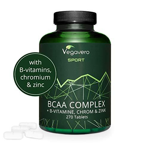 VEGAVERO Vegan BCAA - Highest Dose 5000 mg Leucine, Isoleucine, Valine with B Vitamins, Chromium and Zinc | 2:1:1 | Sports Supplement | BCAAs Tablets - 270 Tablets | 100% Vegan