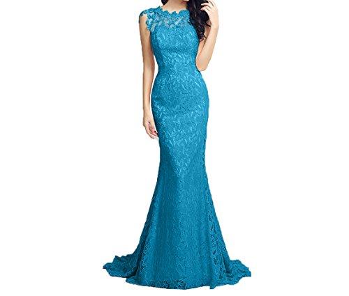 Charmant Ballkleider Glamour Spitze Promkleider Abschlussballkleider Abendkleider Damen Figurbetont Blau 1z7q1Rwv