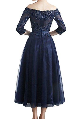 Blau Schulterfrei Royal Promkleider Abendkleider Anmutig A La Festlichkleider Wadenlang Blau Braut mia Dunkel Ballkleider Langarm Linie IHSFq