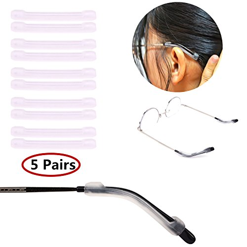 - YR Soft Silicone Eyeglasses Temple Tips Sleeve Retainer,Anti-Slip Elastic Comfort Glasses Retainers For Spectacle Sunglasses Reading Glasses Eyewear,5 pairs -Clear