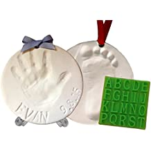 Baby Handprint Keepsake Ornament Kit (Makes 2) - Bonus Customization Tool for Personalized Gifts & Display Stand! Non-toxic Clay. No Baking. Dries Light and Soft So It Won't Crack.